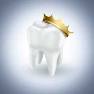white tooth golden crown